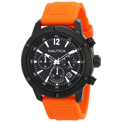 Nautica Men's N18710G NST Chronograph Orange Silicone Watch