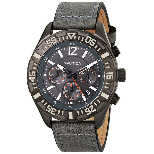Nautica Men's N18720G NST Chronograph Grey Leather Watch