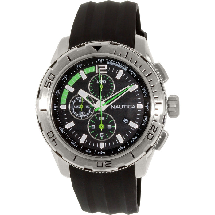 Nautica Men's N18722G NST Chronograph Black Silicone Watch