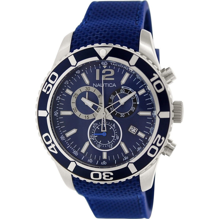 Nautica Men's N18724G NST Chronograph Blue Silicone Watch