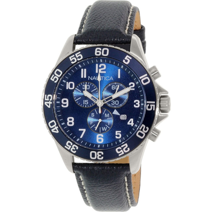 Nautica Men's NAD15506G NST Chronograph Black Leather Watch
