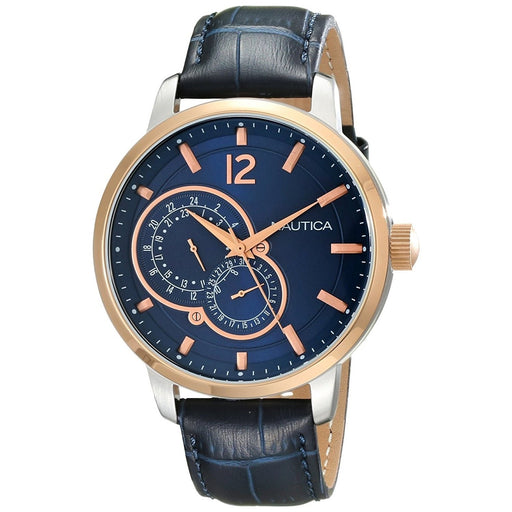 Nautica Men's NAD16501G NCT 15 Multi-Function Blue Leather Watch