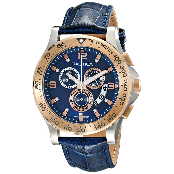 91f093d80ae Nautica Men s NAD19502G NST Chronograph Blue Leather Watch — Bezali