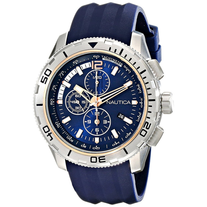 Nautica Men's NAD19505G NST Chronograph Blue Silicone Watch