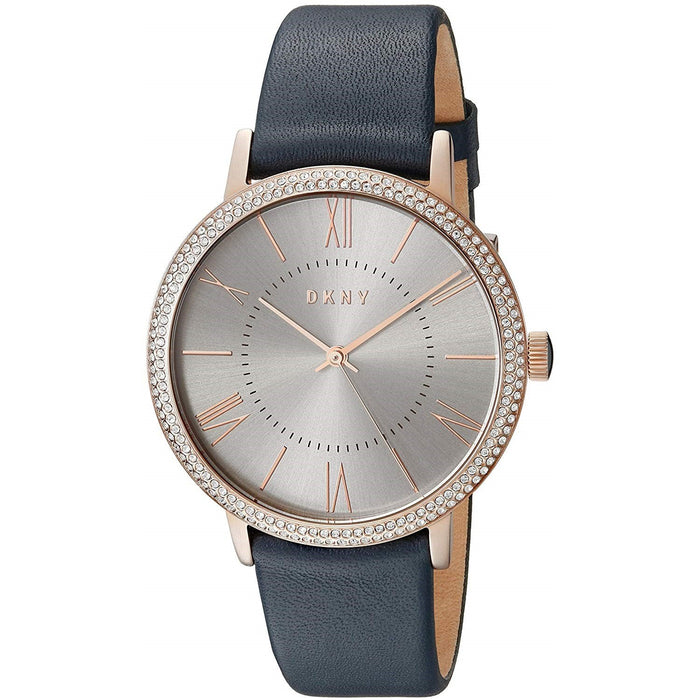 DKNY Women's NY2546 Willoughby Crystal Blue Leather Watch