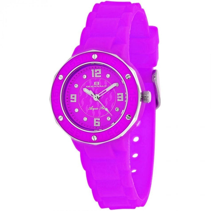 Oceanaut Women's OC0438 Acqua Star Crystal Purple Silicone Watch