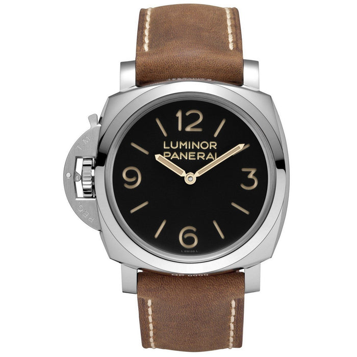 Panerai Men's PAM00557 Luminor 1950 Left-handed 3 Days Acciaio Mechanical Hand Wind Brown Leather Watch
