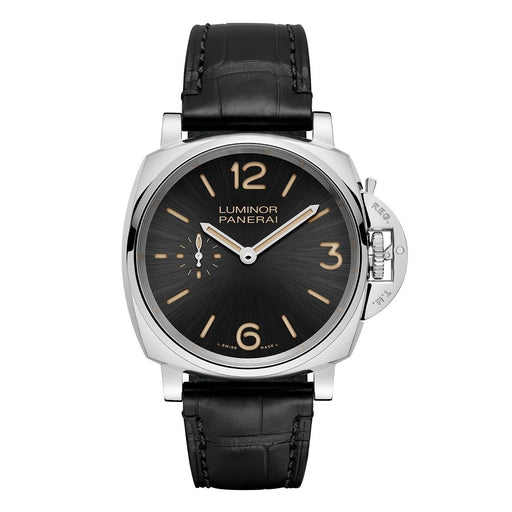 Panerai Men's PAM00676 Luminor Due Black Leather Watch