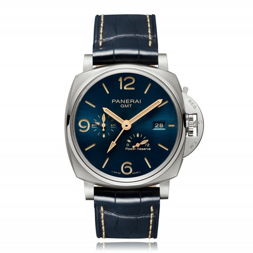 Panerai Men's PAM00964 Luminor Due GMT Power Reserve Blue Leather Watch