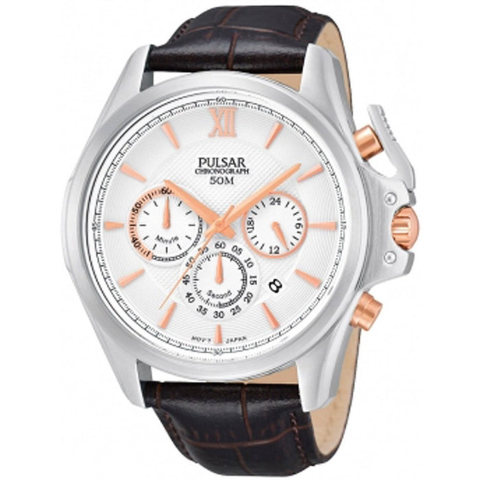 Pulsar Men's PT3441 Chronograph Brown Leather Watch