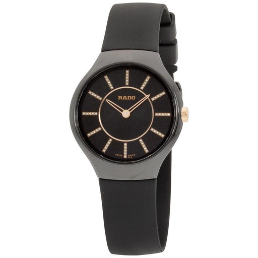 Rado Women's R27742709 True Thinline Black Silicone Watch