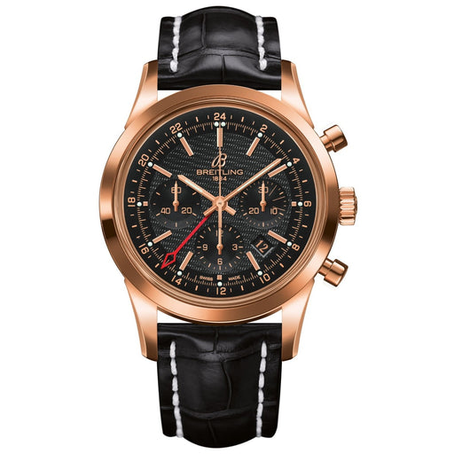 Breitling Men's RB045112-BC68 Transocean Automatic Chronograph Black Leather Watch