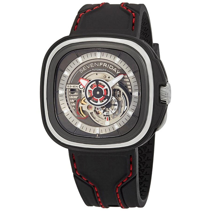 SevenFriday Men's S3-01 S-Series Black Silicone Watch