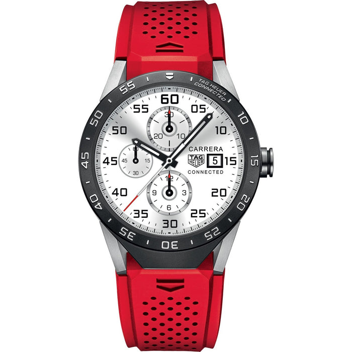 Tag Heuer Men's SAR8A80.FT6057 Connected Smartwatch Android 4.3+ IOS 8.2+ Bluetooth Gyroscope sensor Haptic engine Microphone Red Rubber Watch