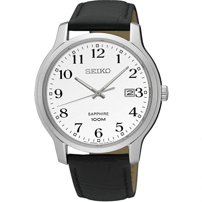 Seiko Men's SGEH69 Sapphire Black Leather Watch