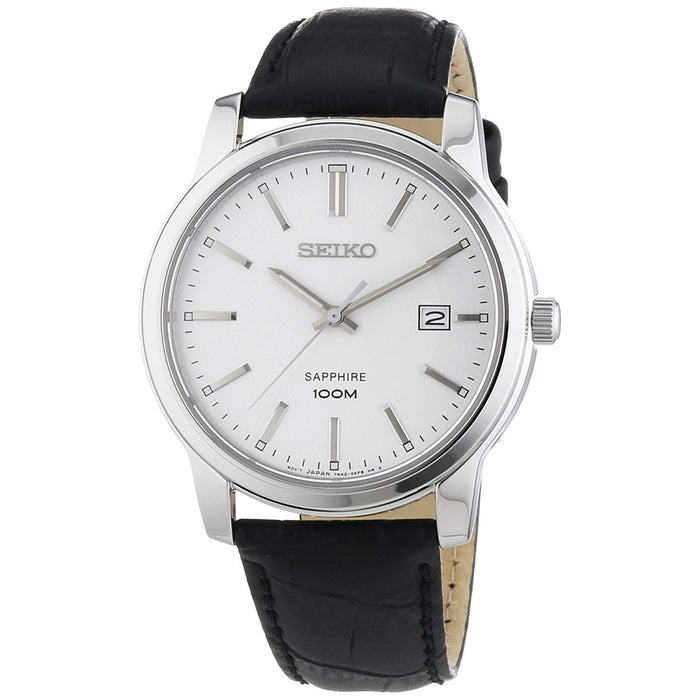 Seiko Men's SGEH70 Sapphire Black Leather Watch