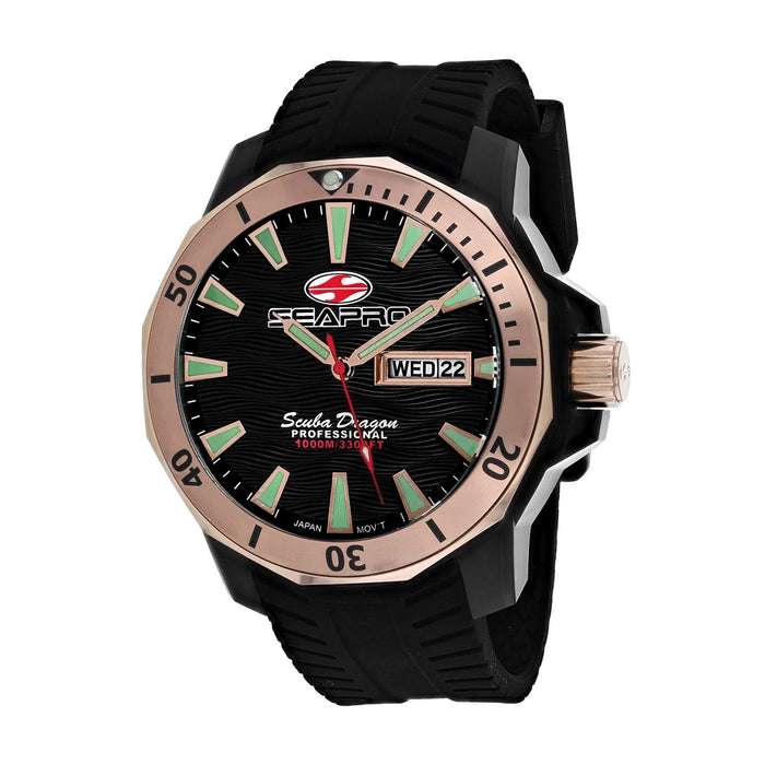 Seapro Men's SP8323 Scuba Dragon Diver Limited Edition 1000 Meters Black Silicone Watch