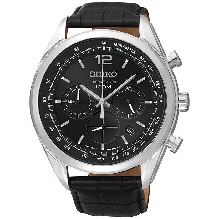 Seiko Men's SSB097 Chronograph Black Leather Watch