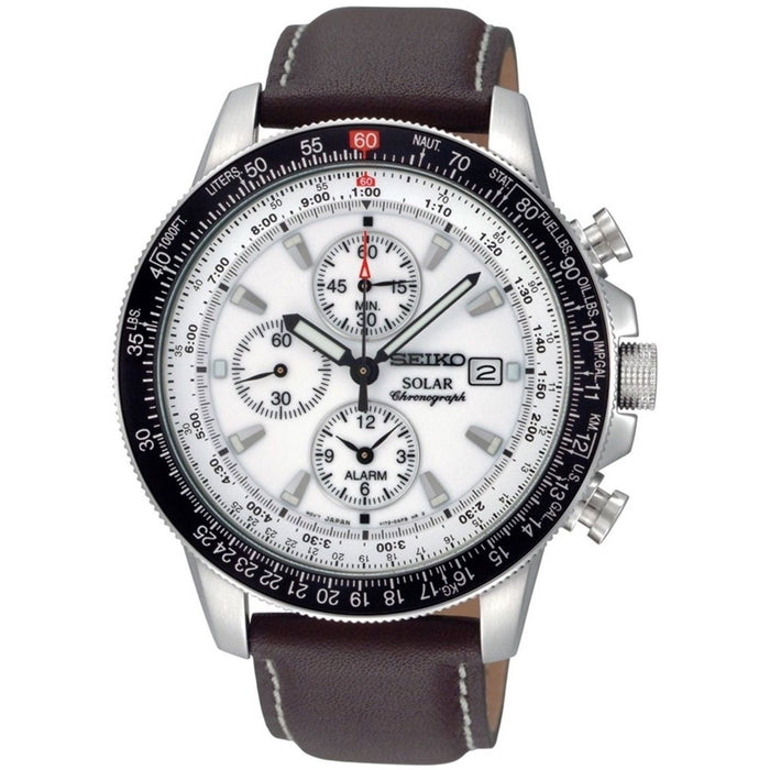 Seiko Men's SSC013 Solar Flight Chronograph Brown Leather Watch