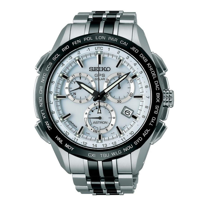 Seiko Men's SSE001 Astron GPS Solar Limited Edition Chronograph World Time Stainless steel and Ceramic Watch