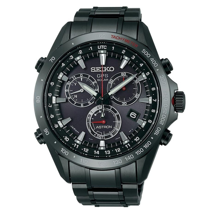 Seiko Men's SSE031 Astron GPS Solar Chronograph Black Stainless Steel Watch