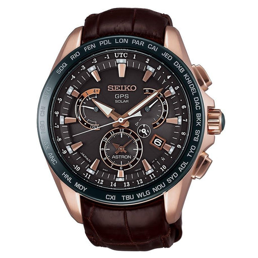 Seiko Men's SSE060 Astron GPS Solar Novak Djokovic Limited Edition Chronograph World Time Brown Leather Watch