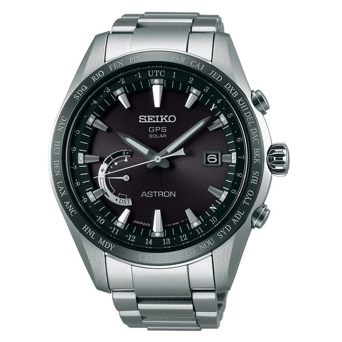 Seiko Men's SSE085 Astron GPS Solar World Time Titanium Watch