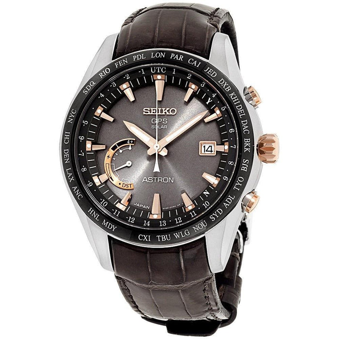 Seiko Men's SSE095 Astron GPS Solar World Time Brown Leather Watch