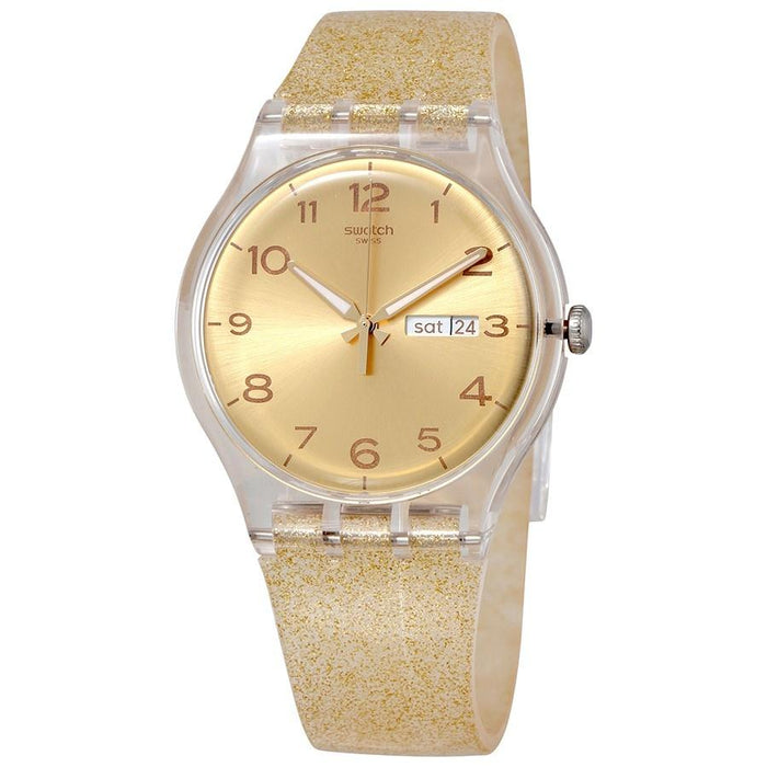 Swatch Unisex SUOK704 Golden Sparkle Gold-Tone Silicone Watch