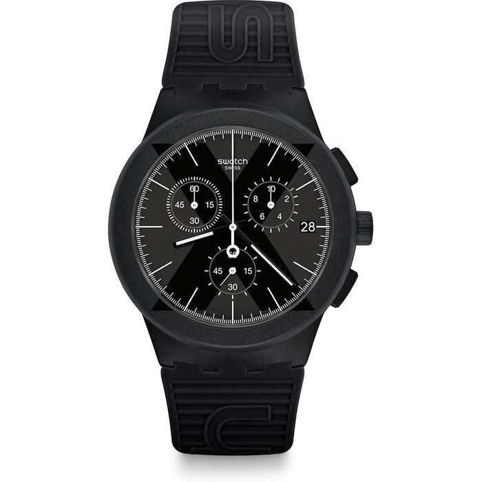 Swatch Men's SUSB413 X-District Chronograph Black Silicone Watch