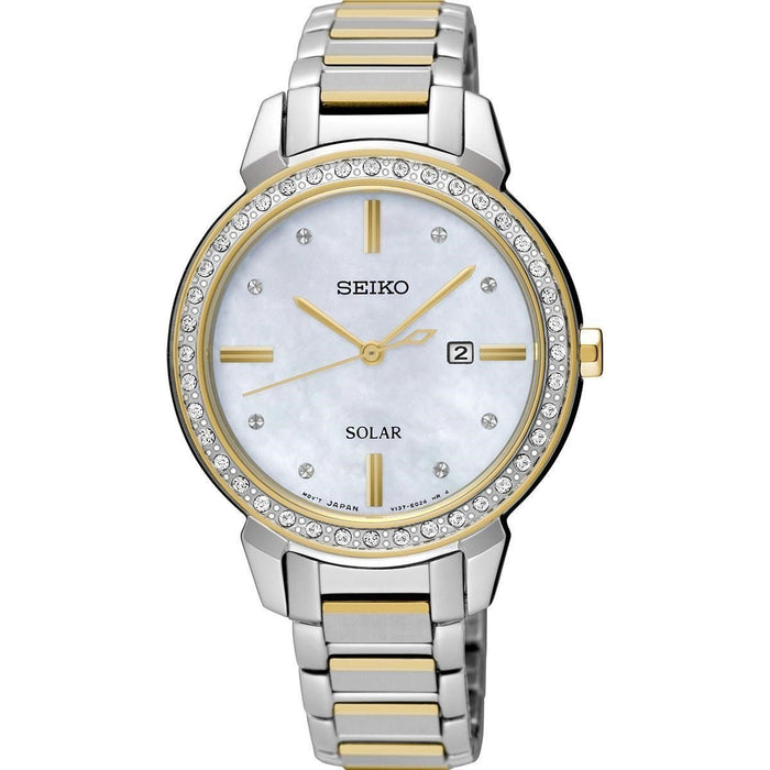 Seiko Women's SUT328 Solar Crystal Two-Tone Stainless Steel Watch