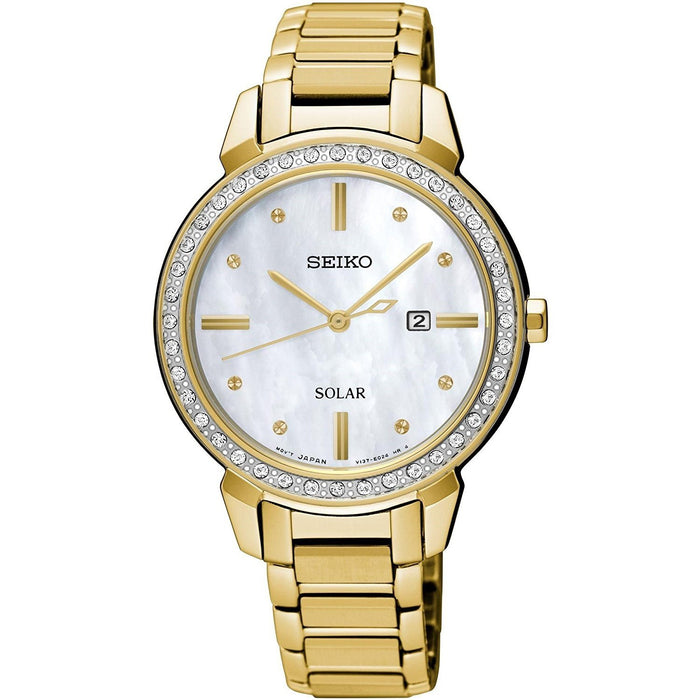 Seiko Women's SUT330 Solar Crystal Gold-Tone Stainless Steel Watch