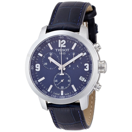 Tissot Men's T0554171604700 PRC200 Chronograph Blue Leather Watch