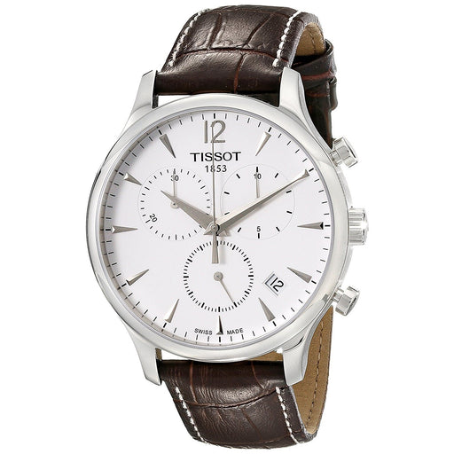 Tissot Men's T0636171603700 T-Classic Tradition Chronograph Brown Leather Watch