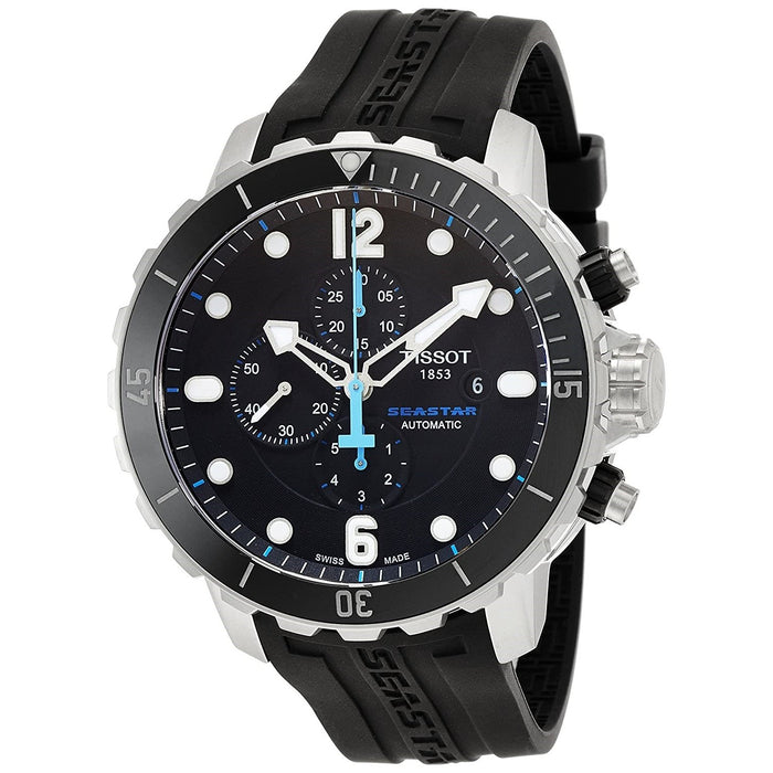 Tissot Men's T0664271705702 T-Sport Seastar 1000 Automatic Chronograph Black Rubber Watch