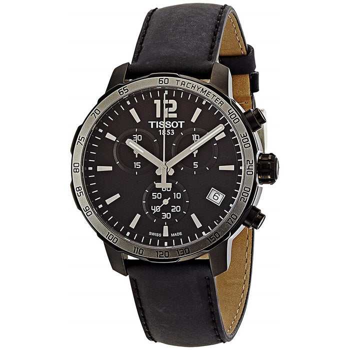 Tissot Men's T0954173605702 Quickster Chronograph Black Leather Watch