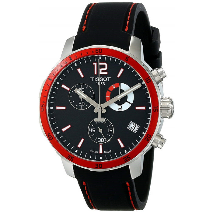 Tissot Men's T0954491705701 Quickster Chronograph Black Silicone Watch