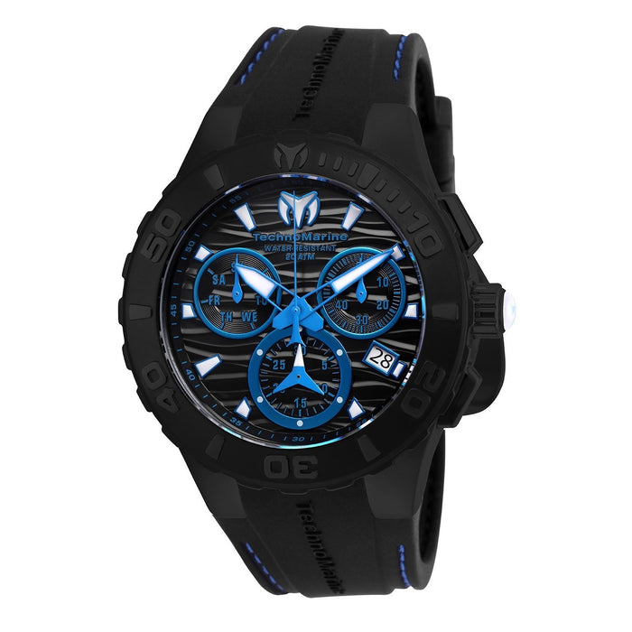 TechnoMarine Men's TM-115080 Cruise Medusa Chronograph Black Silicone Watch