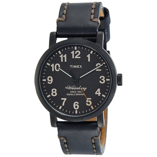 Timex Men's TW2P59000 Waterbury Black Leather Watch