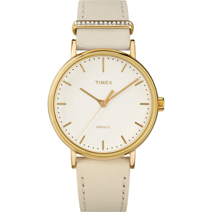 Timex Women's TW2R70500 Fairfield White Leather with Sets of Crystal Watch