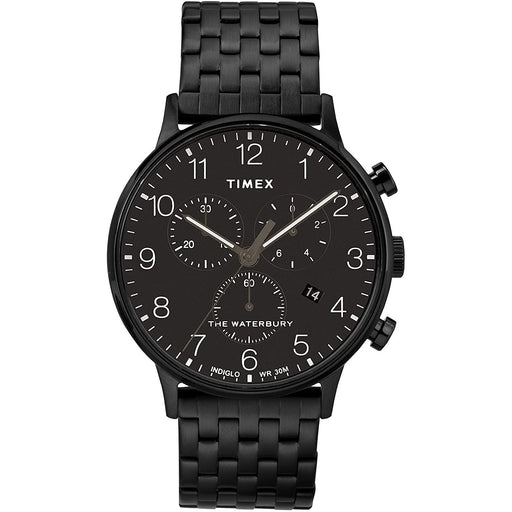 Timex Men's TW2R72200VQ Waterbury Classic Chronograph Black Stainless Steel Watch