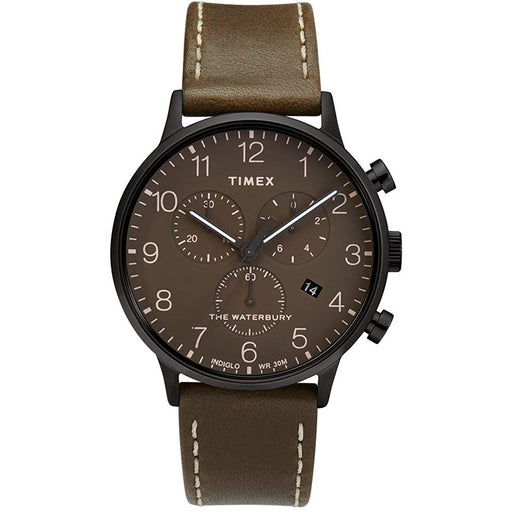 Timex Men's TW2T27900VQ Waterbury Chronograph Brown Leather Watch