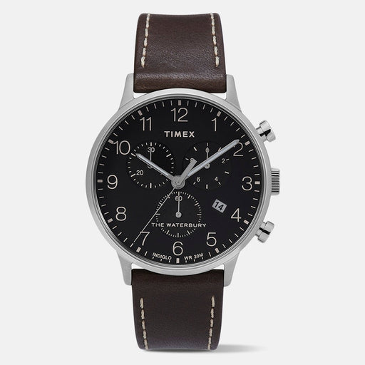 Timex Men's TW2T28200VQ Waterbury Chronograph Black Leather Watch