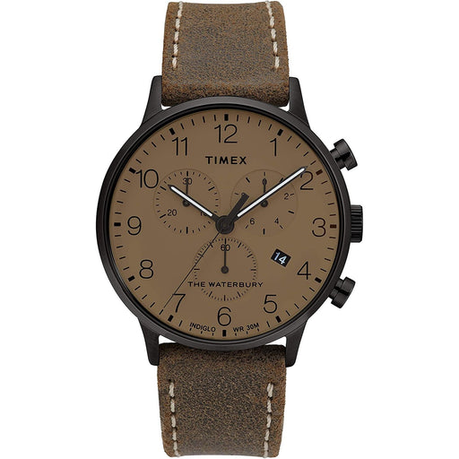 Timex Men's TW2T28300VQ Waterbury Classic Chronograph Brown Leather Watch