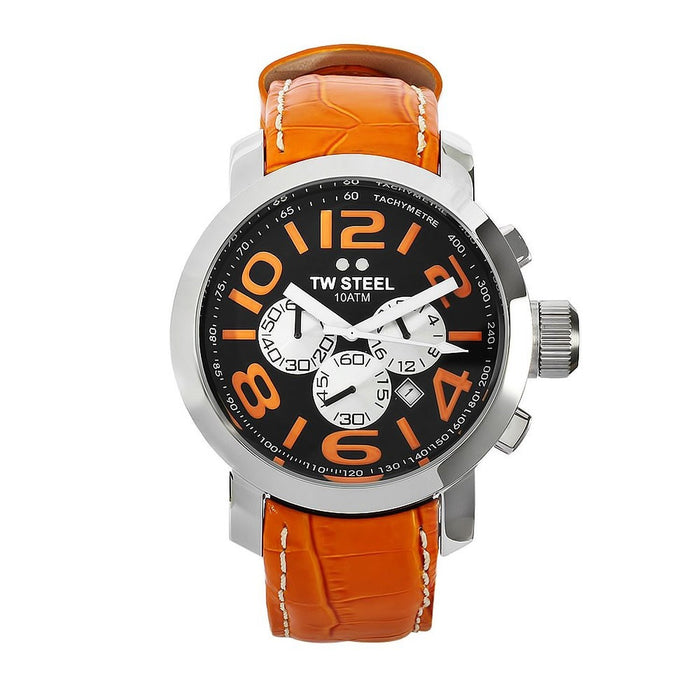 TW Steel Men's TW53 Grandeur Chronograph Orange Leather Watch