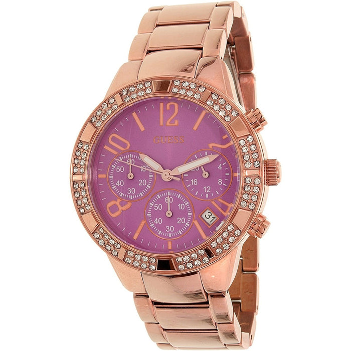 Guess Women's U0141L7 Sparkling Chronograph Crystal Rose-Tone Stainless Steel Watch