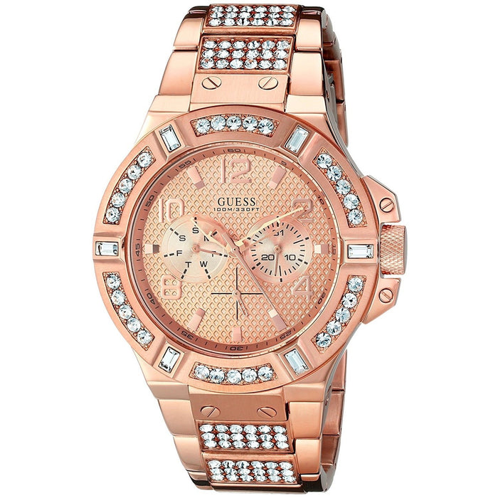 Guess Men's U0292G2 Rigor Multi-Function Crystal Rose-Tone Stainless Steel Watch
