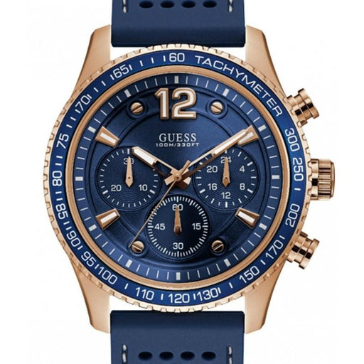 Guess Men's U0971G3 Fleet Chronograph Blue Rubber Watch