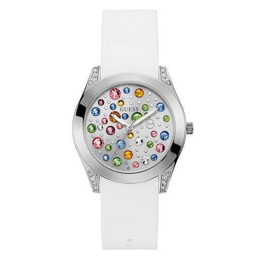 Guess Women's U1059L1 Casual Crystal White Silicone Watch