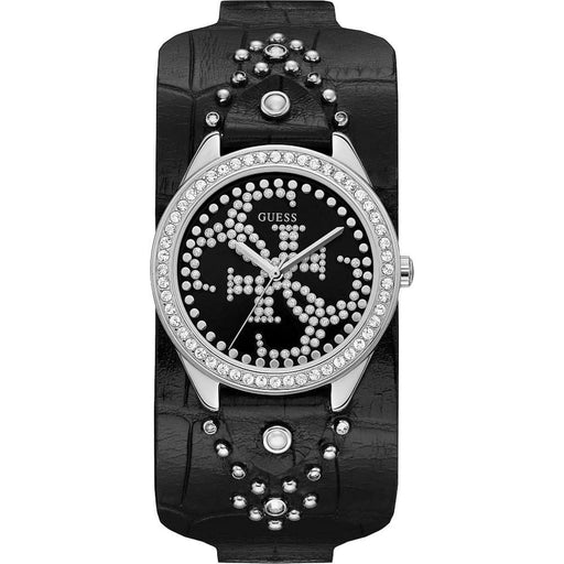 Guess Women's U1140L1 Heartbreaker Crystal Black Leather Watch